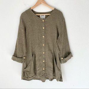 FLAX by Jeanne Engelhart Linen Tunic Shirt Jacket